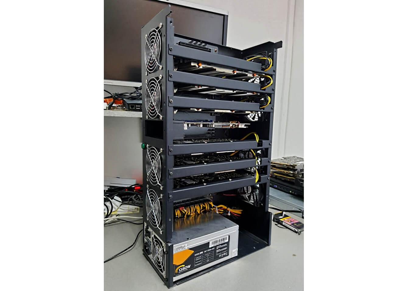Mašina na kryptomeny - stroj na ťažbu Bitcoinu, Ethereum, Zcash, Monero..1web