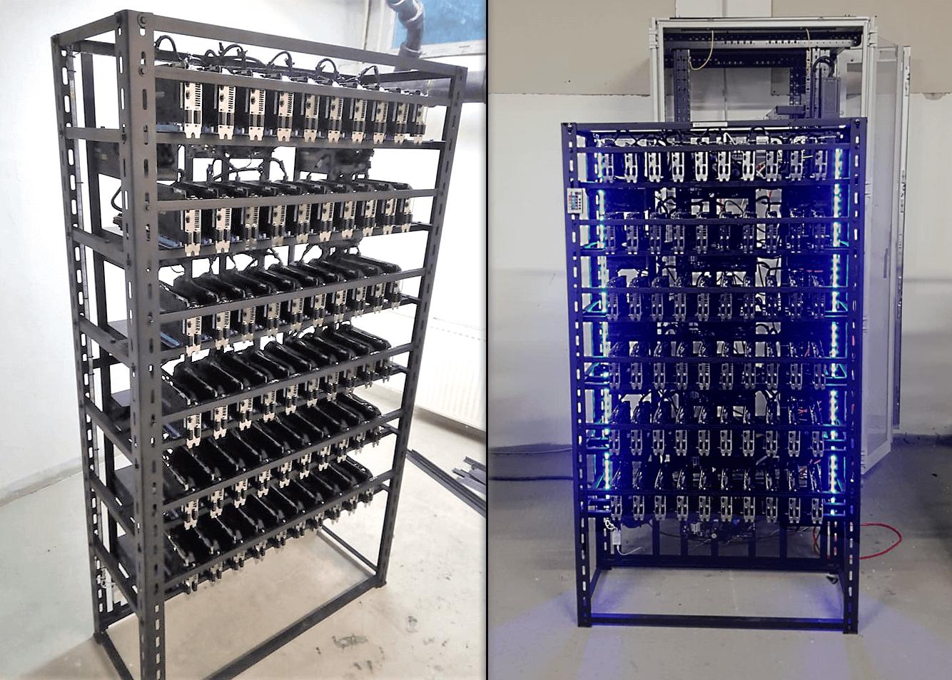 Datacentrum na ťažbu kryptomien - GPU mining rig - Ethereum, Monero, Zcash
